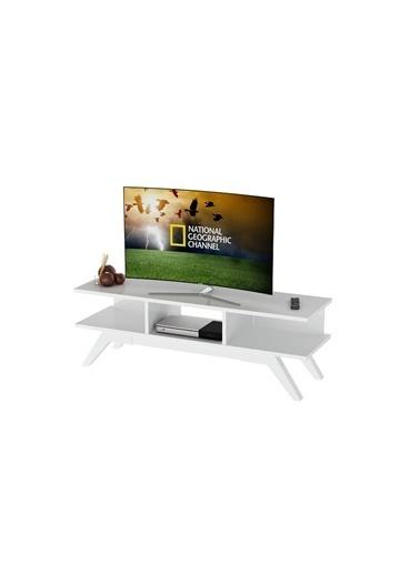 Sanal Mobilya New Retro Tv Sehpası Beyaz Beyaz